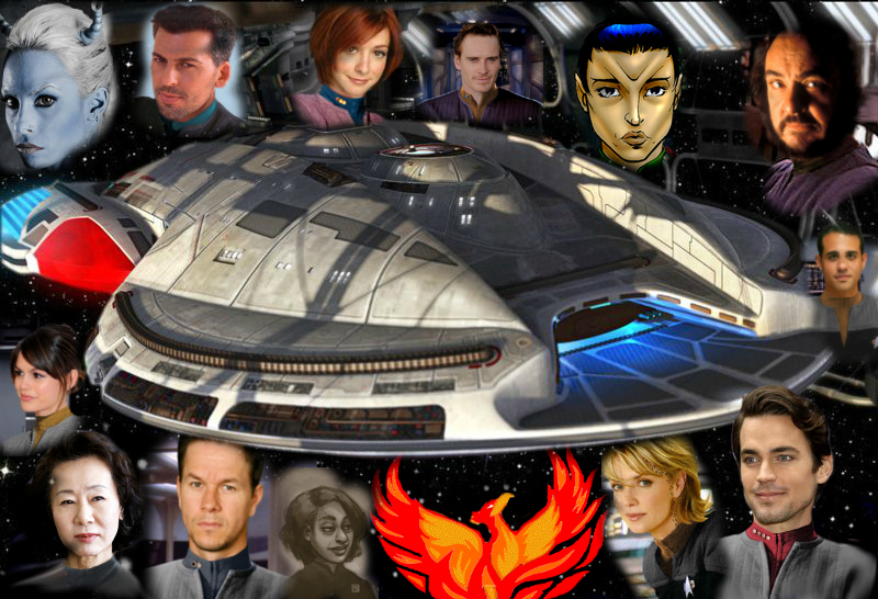 Portraits of all player characters surround the Firebird.